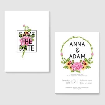 Convites de casamento com coroa de flores em aquarela da dália