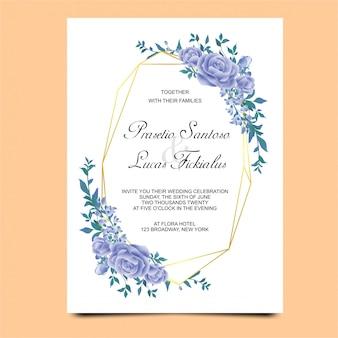 Convites de casamento com enfeites de flor azul