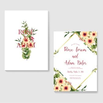 Convites de casamento com flor e folha aquarela macia