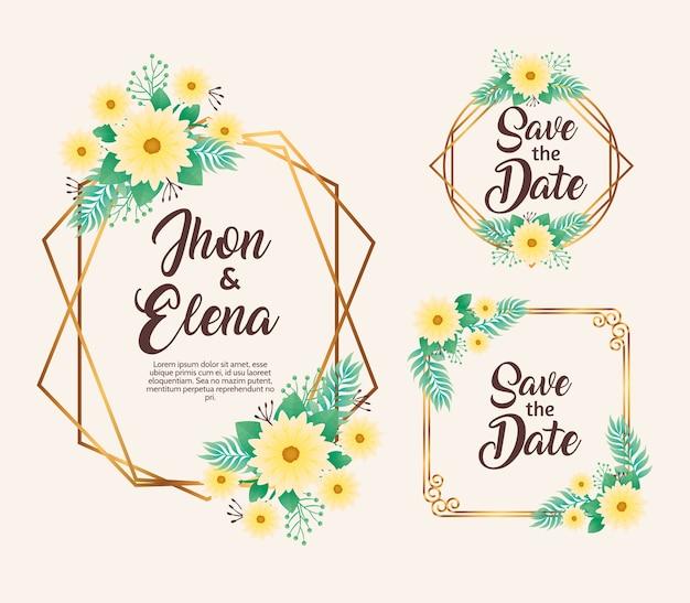 Convites de casamento com molduras amarelas florais e douradas