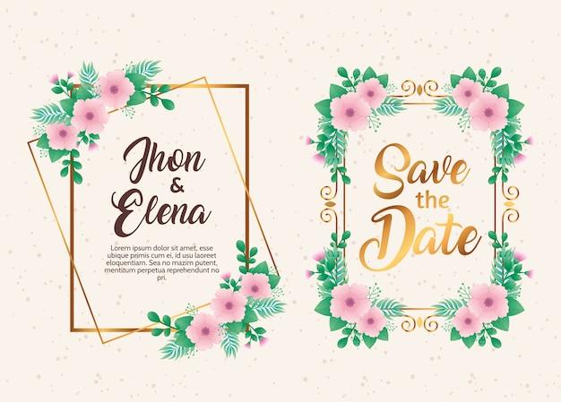 Convites de casamento com molduras florais rosa e douradas