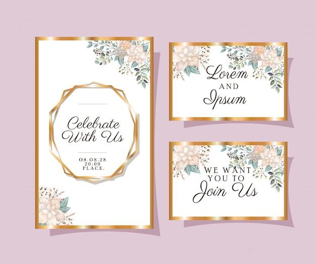 Convites de casamento com molduras ornamentais de ouro e flores brancas com folhas