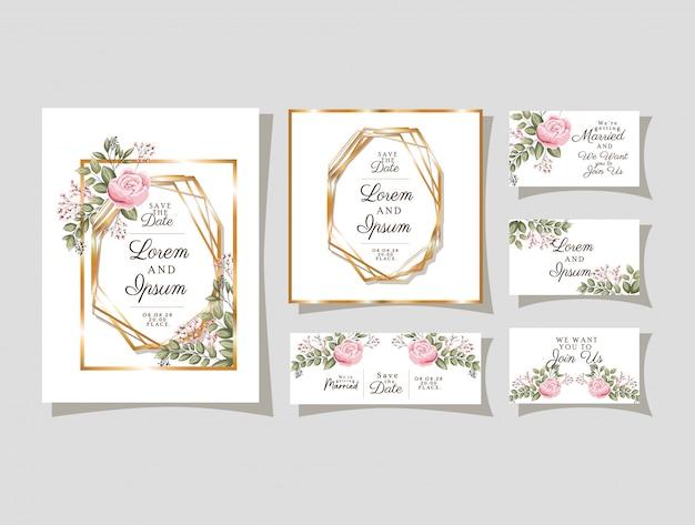 Convites de casamento com molduras ornamentais de ouro e flores rosas com folhas