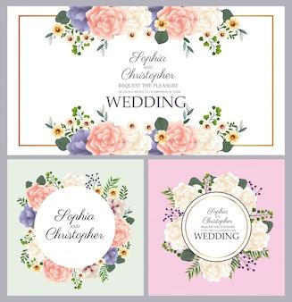 Convites de casamento com quadros circulares florais