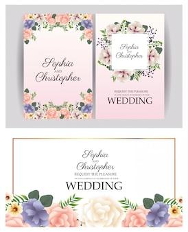 Convites de casamento com quadros florais quadrados