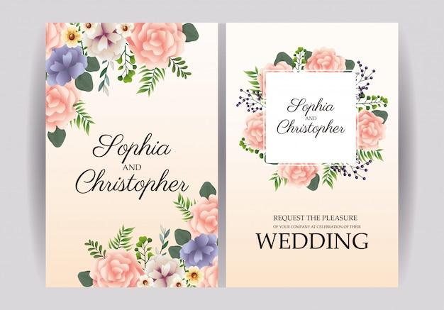 Convites de casamento com quadros florais Vetor Premium