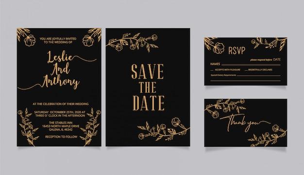 Convites de casamento, com rsvp e cartão de agradecimento
