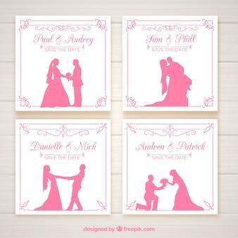 Convites de casamento com silhuetas de rosa