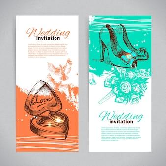 Convites de casamento. conjunto de banners de origens de casamento vintage desenhadas à mão