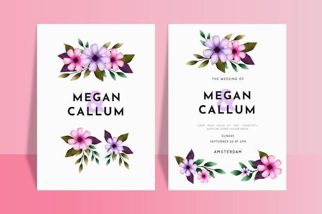 Convites de casamento de flores coloridas