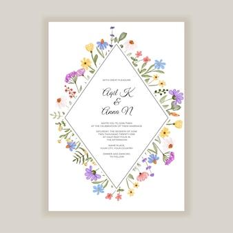 Convites de casamento de flores silvestres rústicas