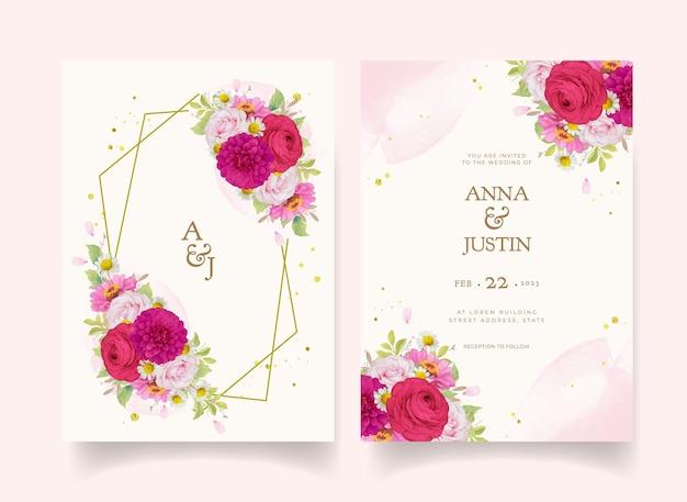Convites de casamento elegantes com flores em aquarela rosa escuro