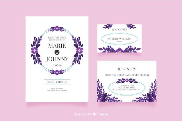 Convites de casamento em design plano