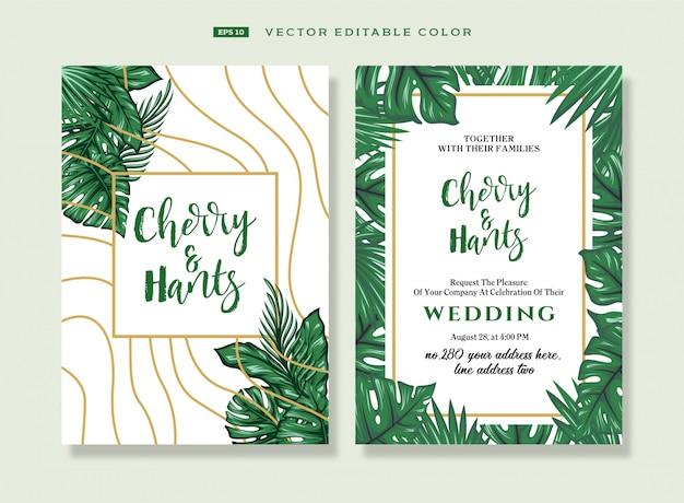 Convites de casamento em estilo tropical.