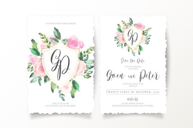 Convites de casamento floral com emblema e monograma