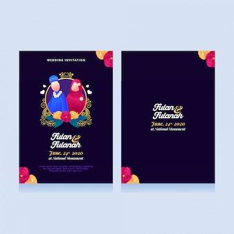 Convites de casamento muçulmano com ilustrações fofos