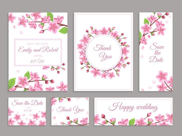 Convites de casamento sakura. conjunto de convites de casamento de flor de cerejeira.