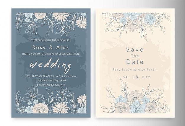 Convites de casamento salvar o cartão de data com elegante anêmona de jardim.