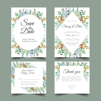 Convites de casamento tropical verde