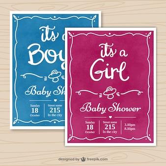 Convites do chuveiro de bebê com quadros desenhados à mão