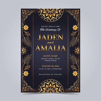 Convites elegantes de casamento dourado gradiente