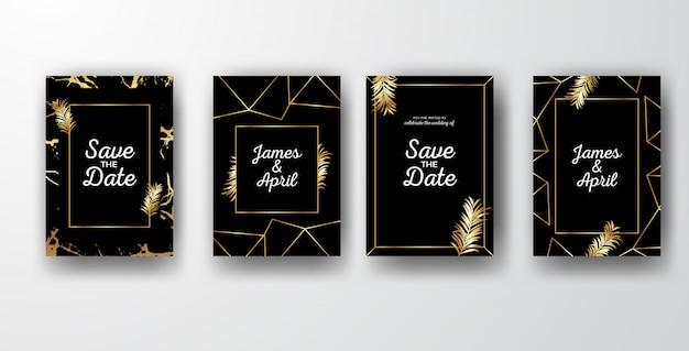 Convites elegantes pretos do casamento com folhas douradas