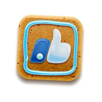 Cookie com gosto, polegar para cima, isolado no branco