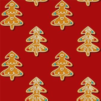 Cookie de árvore de natal de gengibre sem emenda. padrão, fundo vermelho.
