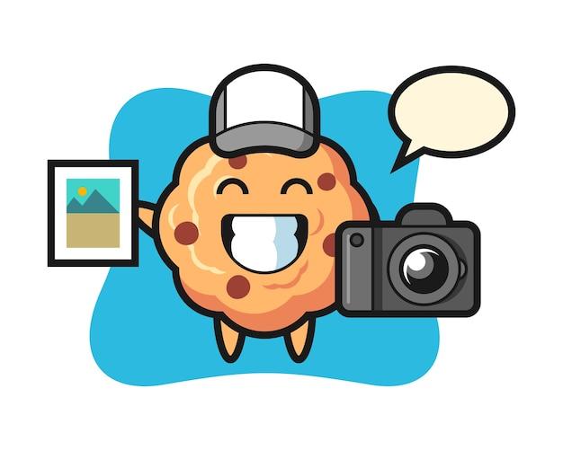 Cookie de chocolate do personagem como fotógrafo