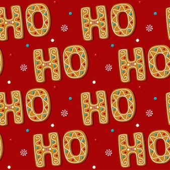 Cookie de frase de ho de gengibre sem emenda. padrão, fundo vermelho. doces caseiros festivos. ilustração.