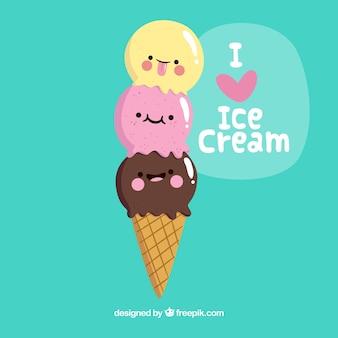 Cookie, fundo, três, agradável, gelo, creme, bolas
