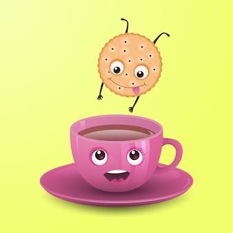 Cookie salta para uma xícara de chá.