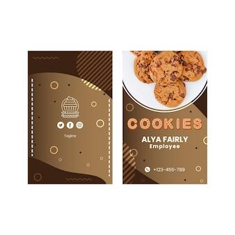 Cookies de cartão de visita vertical frente e verso