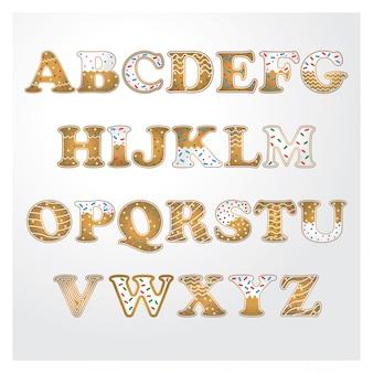 Cookies de gengibre com alfabeto