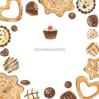 Cookies e moldura de chocolate