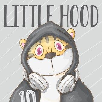Cool boy baby tigre mão desenhada animal -vector