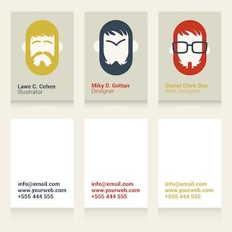 Cool cartões de visita para designers e ilustradores Vetor Premium