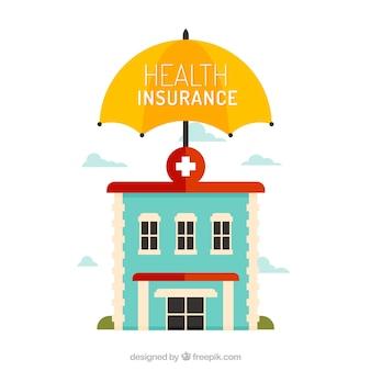 Cool composição com hospital e guarda-chuva