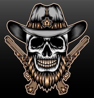 Cool cowboy crânio barbudo.