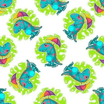Cool dino doodle padrão de vetor
