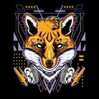 Cool kitsune demon fox com fones de ouvido techno geometria estilo de ilustração em fundo preto
