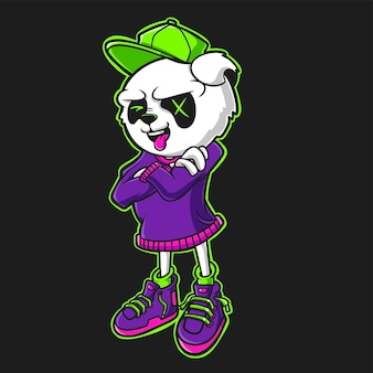 Cool panda cartoon