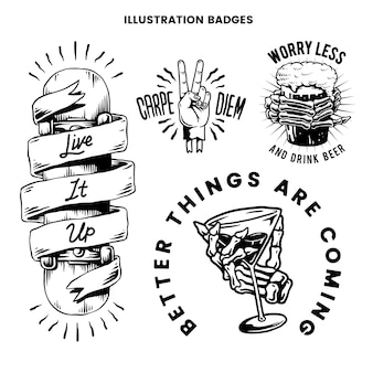 Cool retro vetor de emblemas motivacionais