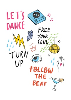 Cool t shirt design em estilo doodle com patches e citações manuscritas