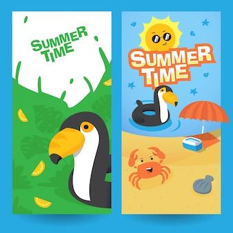Cool time de verão banner conjunto de design