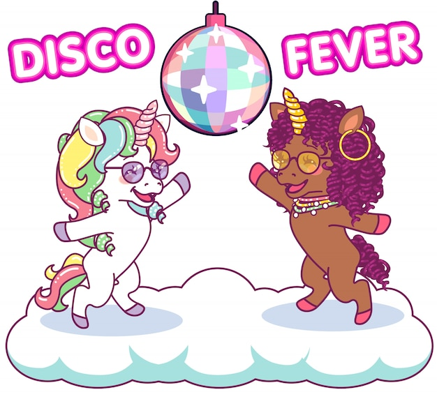 Cool unicórnios dançando na discoteca sob o mirrorball, febre dos anos 70 discoteca