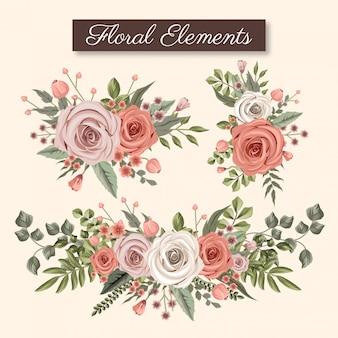 Coolection de elemento floral rosa e bege