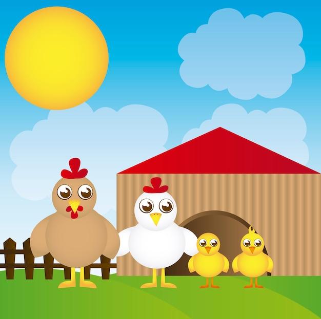Coop cartoon com frango sobre vetor de fundo de paisagem