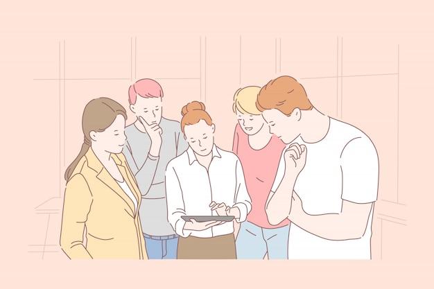 Cooperação de equipe firme, trabalho em equipe produtivo, conceito