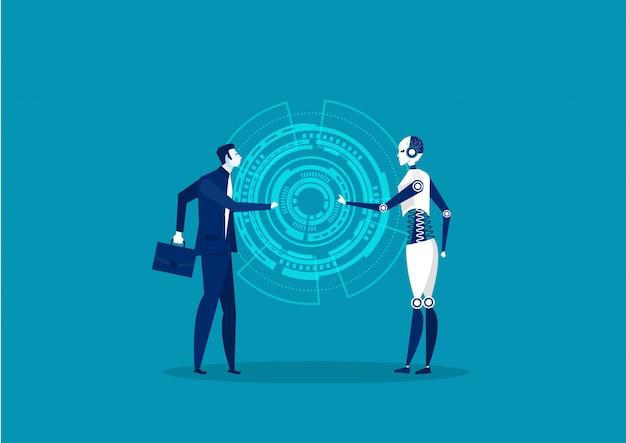 Cooperação de robô e humana em fundo azul